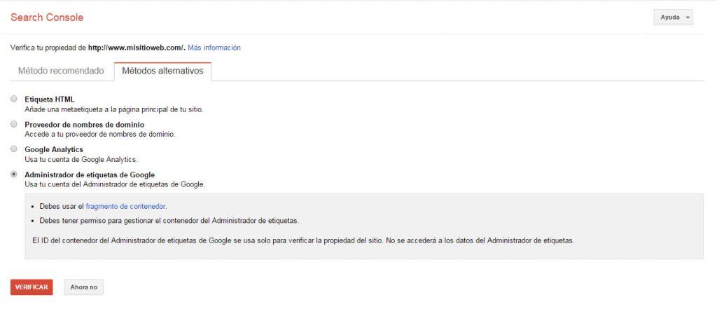 Google Search Console - Tutorial principiantes - Administrador de Etiquetas