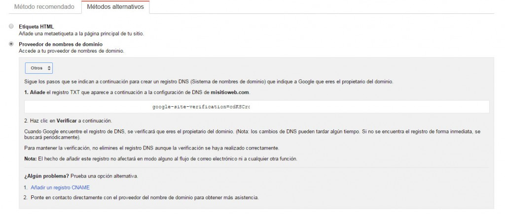 Google Search Console - Tutorial principiantes - CNAME