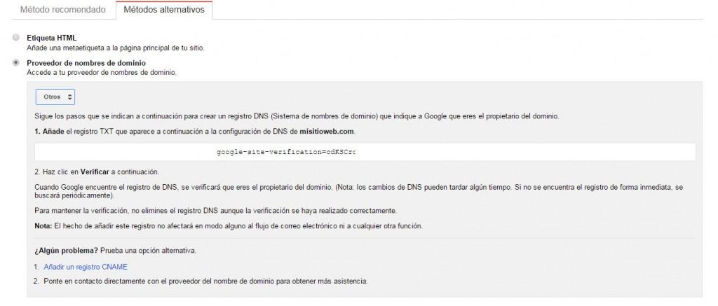 Google Search Console - Tutorial principiantes - CNAME