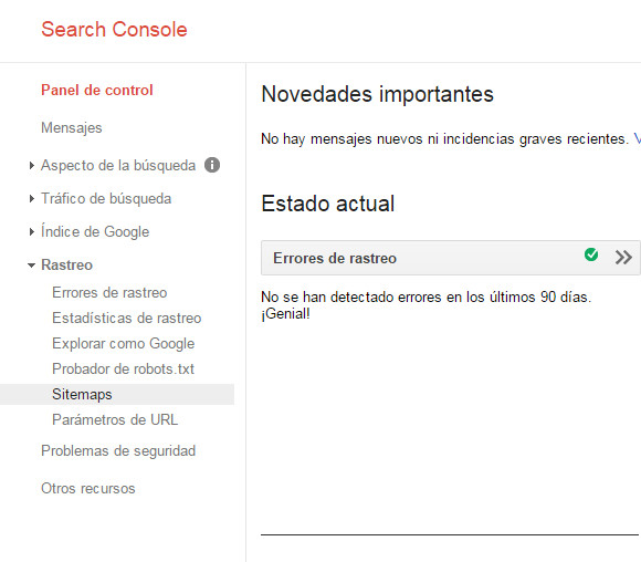 Google Search Console - Tutorial principiantes - Rastreo