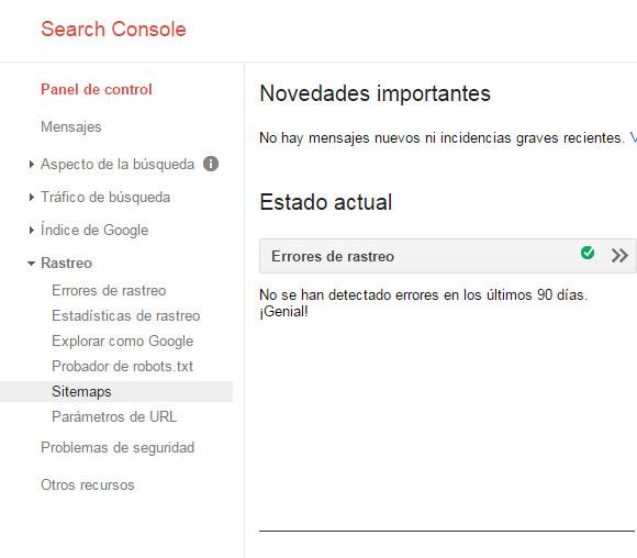 Google Search Console - Tutorial principiantes - Rastreo