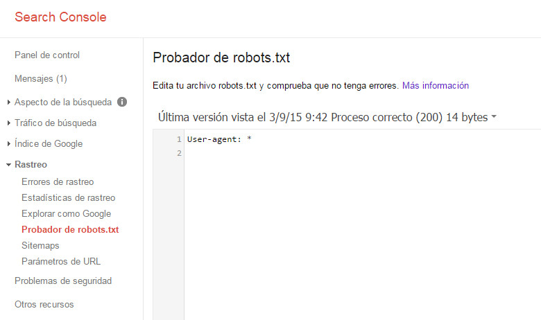 Google Search Console - Tutorial principiantes - Robots