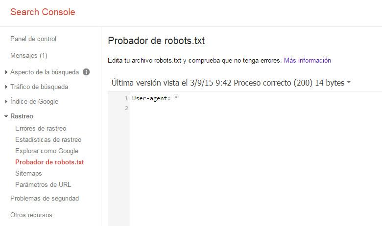 Google Search Console - Tutorial principiantes - Robots