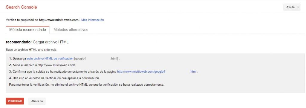 Google Search Console - Tutorial principiantes - subir HTML