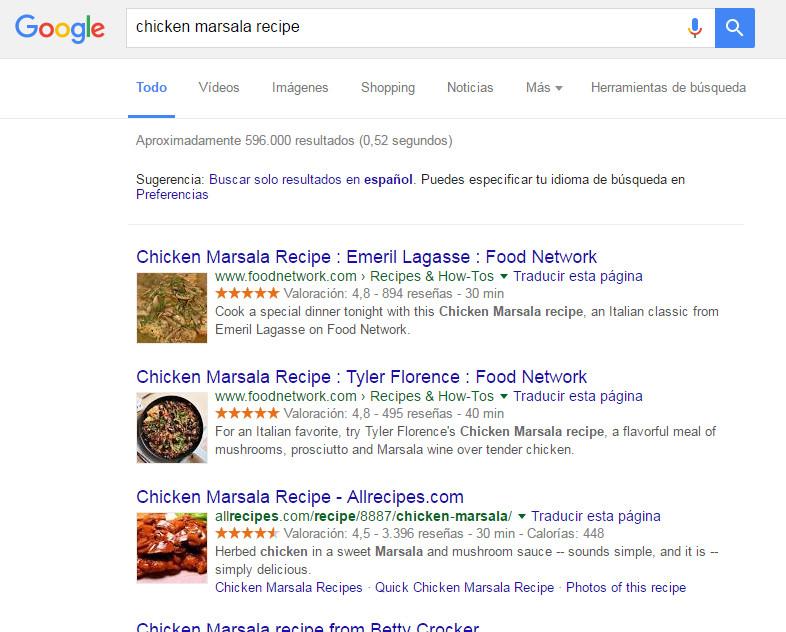 Datos estructurados receta pollo marsala