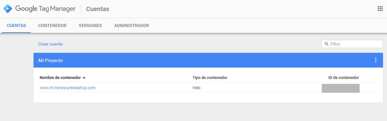 Google Tag Manager Contenedor Creado