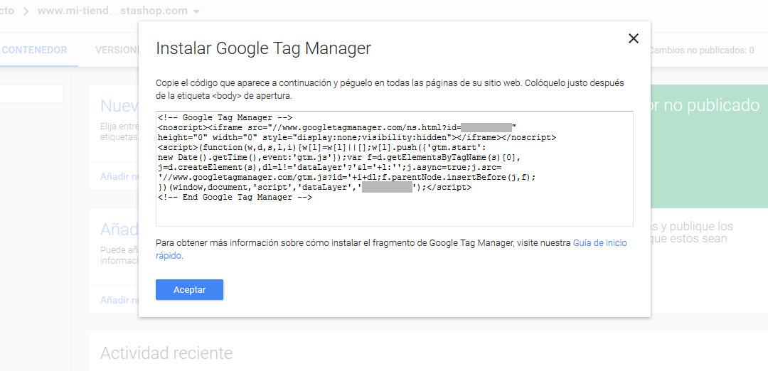 Google Tag Manager Prestashop Contenedor Codigo