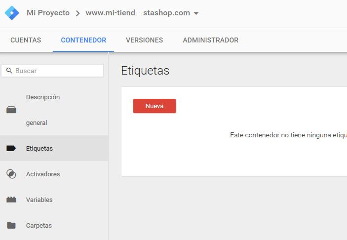 Google Tag Manager Prestashop Crear Etiqueta