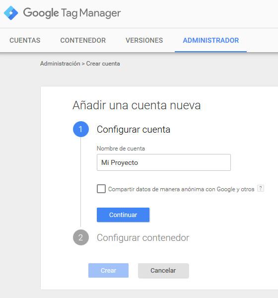 Google Tag Manager Prestashop Cuenta