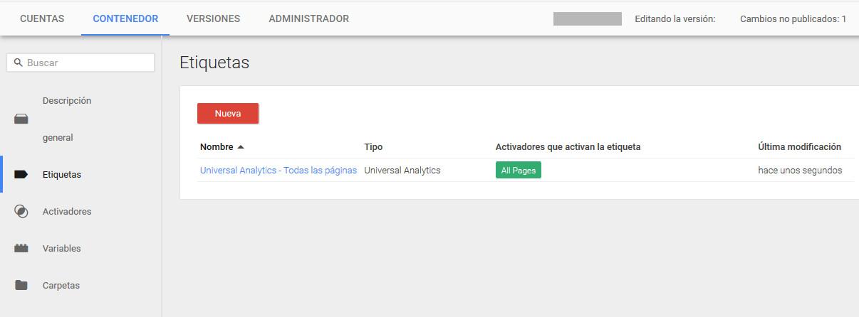 Google Tag Manager Prestashop Etiqueta Creada