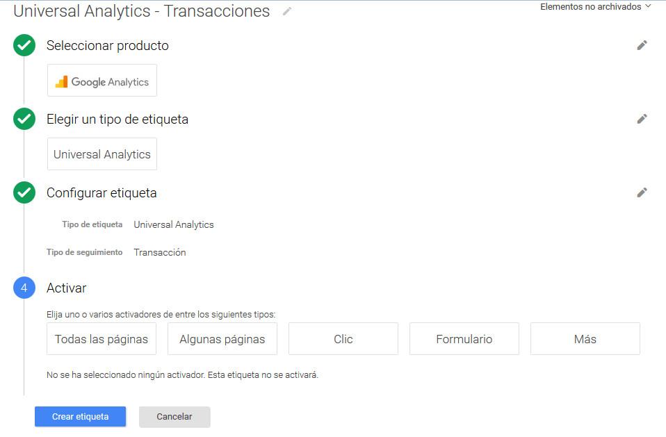 Google Tag Manager Prestashop Transacciones