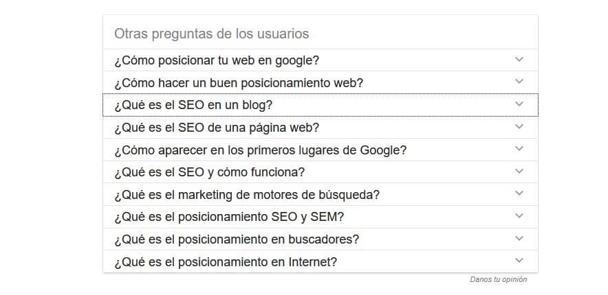 preguntas seo google