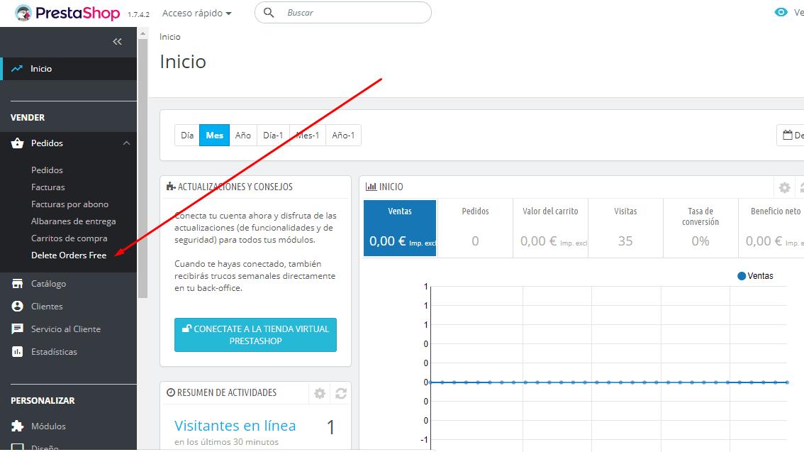 Eliminar pedidos con el módulo PrestaShop Delete Orders Free